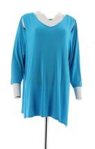 Belle Kim Gravel Knit Top Asymmetrical Hem Bright Ocean L NEW A307422 - $22.75
