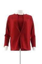 Denim Co Novelty Zipper Front Jacket T-Shirt Long Slvs Winter Red M NEW ... - $34.63