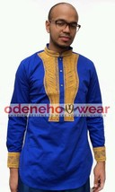 Odeneho Wear Men's Blue Polished Cotton Top/Gold Embroidery. African Clothing. - $84.15+