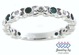 Emerald Gemstone 14K White Gold 0.31CT Real Diamond Eternity Delicate Fi... - $1,120.00