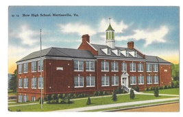 Martinsville VA New High School Vintage Linen Virginia Postcard - $3.99