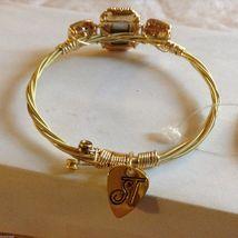 String Theory Guitar Strings Gold Bracelet w/ a Royal Blue Stone, Size 7 1/2 image 3