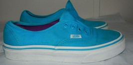 Vans Off The Wall Skater Tennis Shoes Aqua Canvas  Womens  size 7 NEED S... - $12.86