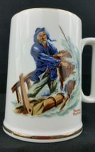 Norman Rockwell Cup Mug Ceramic Museum 1985 Braving The Storm Gold Trim - $24.74