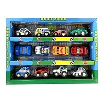 PANDA SUPERSTORE Set of 12 Mini Pull-Back Car Vehicle Toy Models Kids, Police Ca
