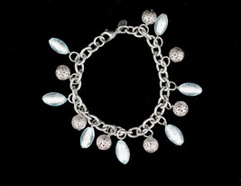 Vintage Milor Italy Silver Tone Stainless Steel Murano Glass Charm Brace... - $44.99