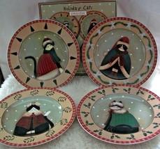 Xmas Plates Fiddlestix Cats Set Of 4 Dessert Or Salad Oneida Crazy Cat L... - $21.77