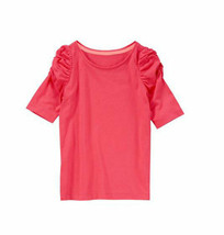 Crazy 8 Girls Tee Shirt Sz S 5 6 Ruched Short Sleeve Cute Pink 100% Cott... - $12.75