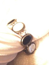 Vintage Marcasite Bracelet Genuine Onyx Mother Of Pearl 925 Sterling Sil... - $193.05