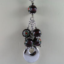 .925 SILVER RHODIUM NECKLACE WITH PURPLE MURRINE AND DISC PENDANT image 3