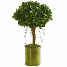 Decorative Multicolor 3' Ficus Artificial Tree in Green Metal Planter - 3 Ft. - $137.34