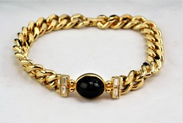 Joan Rivers Gold-Tone With Faux Black Onyx Cabochon And Clear Crystal Li... - $16.00