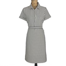 Anthropologie Dress Med Short Sl Shirt The Letter White Black Stripe Tunic Midi - $39.95