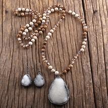 RH Fashion Jewelry Set Boho Beaded Necklace Natural Stone & Druzy Pendant Neckla - $20.76