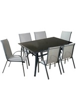 Northlight 7-Piece Black Gray Outdoor Mesh Steel Rectangle Patio Dining Set - $647.20