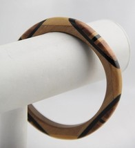VINTAGE BOOK PIECE Modernist ELONGATED DOT Bangle BRACELET WOOD Black LU... - $18.75