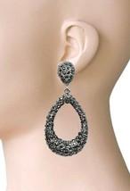 """3"""" Long Gray Simulated Hematite Rhinestones Statement Hoop Earrings Drag... - $18.05"""