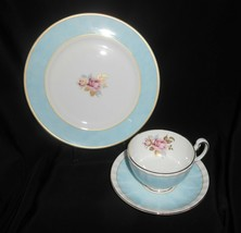 Aynsley Tea Trio Pale Blue Pink Cabbage Rose 3 Piece Set Vintage China image 2