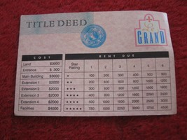 1987 Hotels Board Game Piece: Le Grand Hotel Title Deed - $2.00