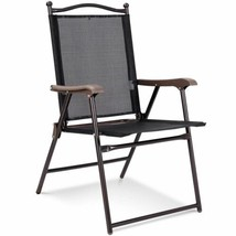 Durable Set of 2 Patio Black Folding Sling Back Camping Deck Chairs - $84.99