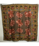"Laura Geraldi Carnation Floral Scarf  31"" Sq Brown Blue Red Gold Hand-Ro... - $33.81"