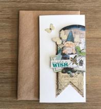Dwarf fairy floral card, Make a Wish, Inspirational magic wishes greetin... - $8.00