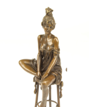 Antique Home Decor Bronze Sculpture shows Lady on Chair signed Free Air Shipping - $159.00