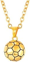 U7 Soccer Pendant Necklace 18K Gold Plated Stainless Steel Chain Boys Girls Fan - $34.16