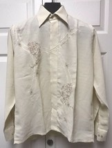 Vintage Retro Blue Jay Embroidered Western Style Shirt Yellow Size M Medium - $6.92