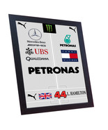 Lewis Hamilton Racing Suit printed on CANVAS 100% Cotton FRAMED - $20.22