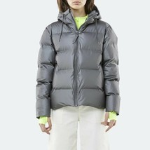 Rains Women 1506 Puffer Metallic Charcoal Silver Size M/L - $250.72