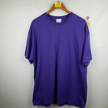 Hanes Mens T-Shirt Size XL 46-48 Heavyweight Cotton Short Sleeve Purple - $6.81