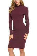 Hotouch Women's Turtleneck Knit Elasticity Slim Fit Sweater Dress Burgun... - $39.80
