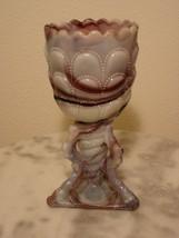 Northwood Mosaic purple slag Beads and Bark Novelty Vase - $116.88