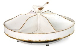 Shabby  Chic 6 Slots White Distressed Metal Lazy Susan Tray w/ Bird,16''... - €54,65 EUR
