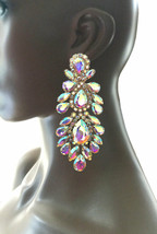 """4.75"""" Long Oversized AB Rhinestone Clip On Earrings Drag Queen Pageant Bridal - $28.17"""