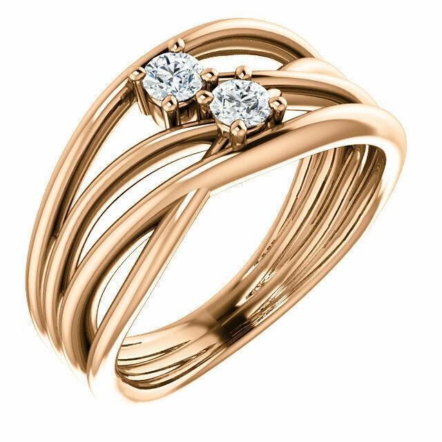 Forever One™ Charles & Colvard Moissanite Two-Stone Bypass Ring In 14K Rose Gold - €838,61 EUR