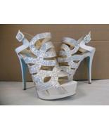 Blue Betsey Johnson Size 10 M Love Ivory Open Toe Heels New Womens Shoes... - $82.47