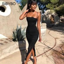 Sibybo Mesh Transparent Split Sexy Long Dress Party Spaghetti Strap Slee... - $38.99