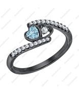 Heart Shaped Aquamarine & Diamond 14k Black Gold Over Double Heart Weddi... - $89.99