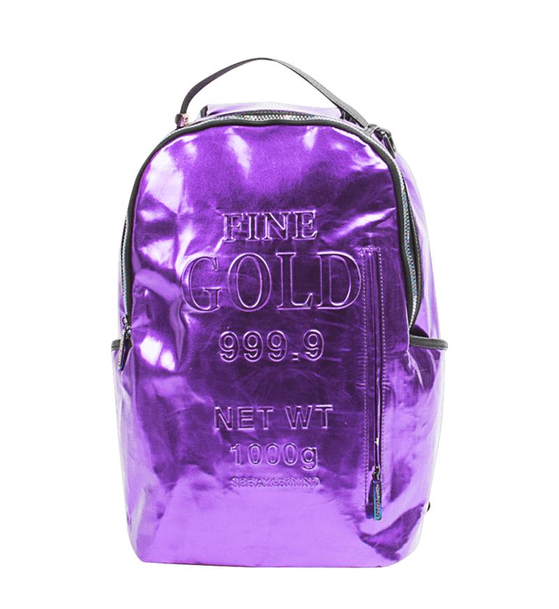 Sprayground Purple Fine Gold Brick Money Urban School Book Bag Backpack 910B1748