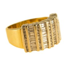 18k Gold Mens Diamond Ring Statement Band Ring Size N BHS - $1,303.84