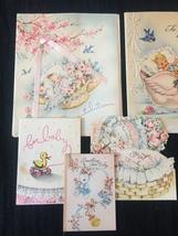 Set of 8 Vintage 40s illustrated Birth/Baby card art (Set C) image 2