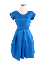 Bright blue short sleeve rhinestone trim vintage A-line dress S - $50.00