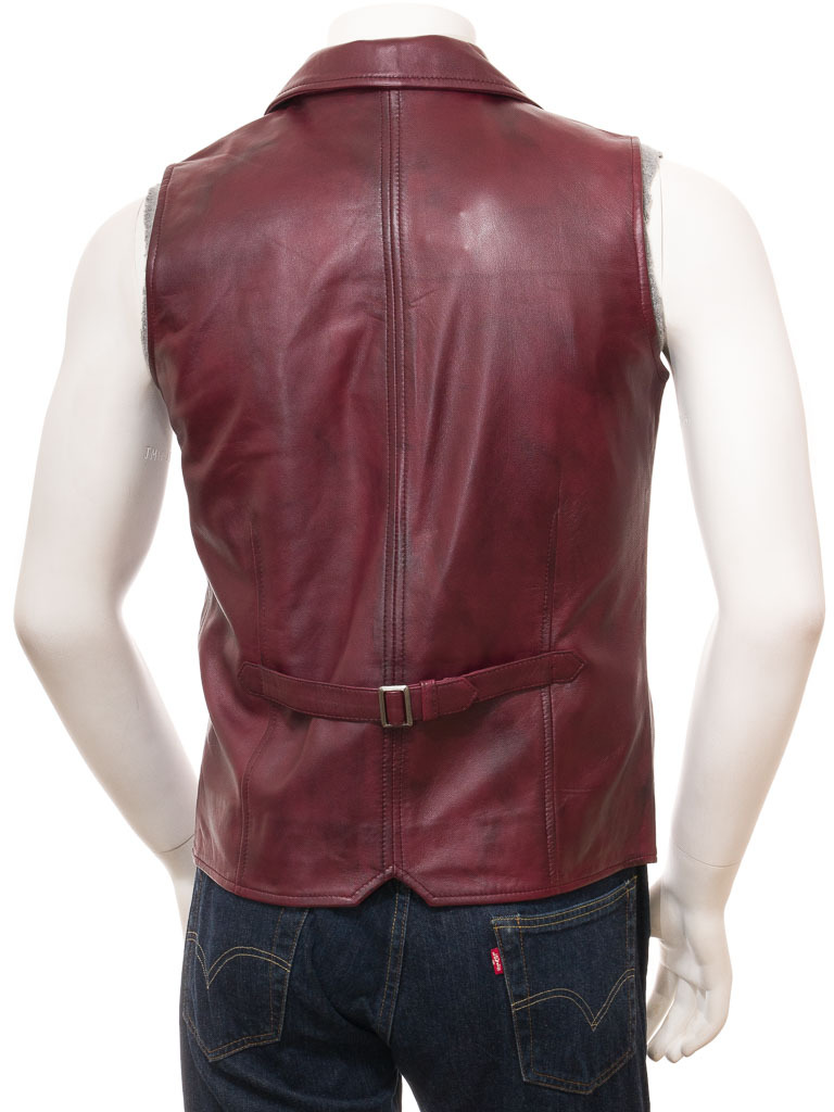 QASTAN Men's New Maroon Motorbike Leather MOTO VEST QMV06B image 3