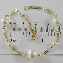18K YELLOW GOLD BRACELET 7.1 INCHES SQUARED CHAIN & WHITE PEARL MADE IN ... - $209.30