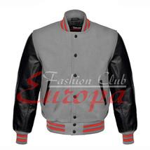 American Unisex Black Real Leather Sleeves Letterman College Varsity Woo... - $86.13+