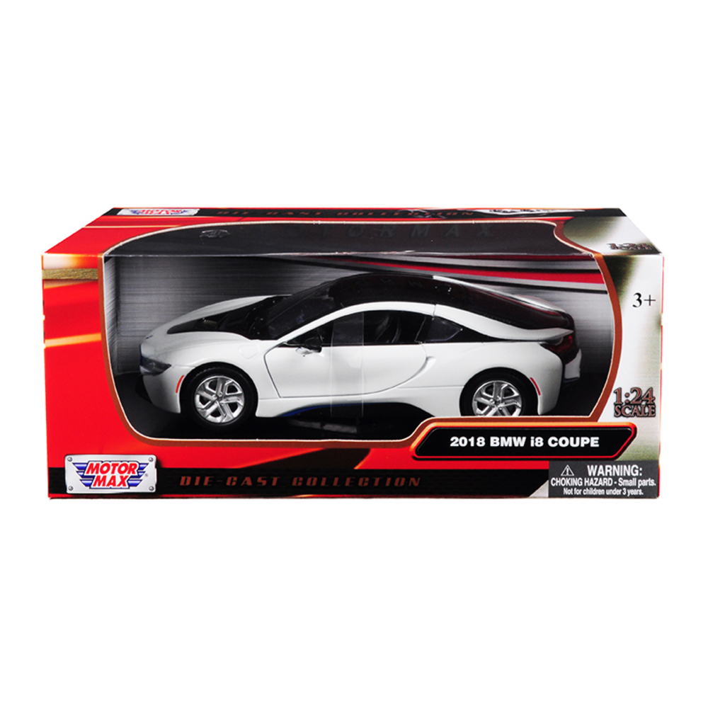 2018 BMW i8 Coupe Metallic White with Black Top 1/24 Diecast Model Car by Motorm
