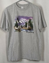 Alaska Souvenir T-Shirt Heather Grey Anvil Cotton Moose Wolf Bear Gift S... - $10.40