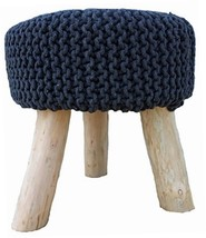 Poppet's MG7865007 Knitted stool Midnight Sky color with Wooden Legs - $52.66